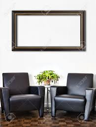modern interior room and white wall and big empty painting frame