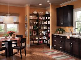 awesome orange wooden style corner walk in pantry shelves design