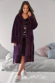 robe de chambre polaire robe de chambre polaire texturée violette avec capuche et poches