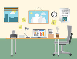 Home Office Equipment by Working From Home Vector With Desk And Office Equipment Bka Content