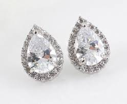 teardrop stud earrings adrienne bridal teardrop earrings bridal cz stud earrings