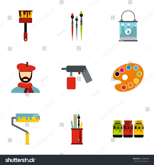 painting icons set flat illustration 9 stock vector 516492328