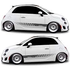 Fiat 500 Abarth White Fiat Abarth Rocker Panel Graphic Kit Shine Graffix