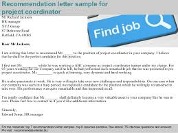 Project Coordinator Sample Resume by Project Coordinator Recommendation Letter