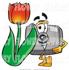clip art of a digital camera mascot cartoon character with a red