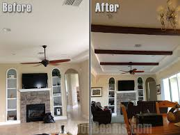 Living Room Ceiling Beams Diy Interior Design Before And After Faux Wood Workshop