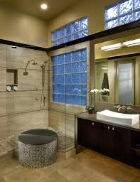 glass block basement windows bathroom contemporary with circles