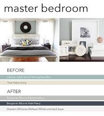 new paint in our master bedroom navy gray and white