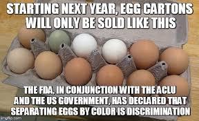 Egg Meme - image tagged in discriminaton segregation brown eggs green eggs