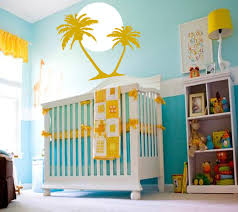 tropical summer sunrise with palm trees yellow baby rooms