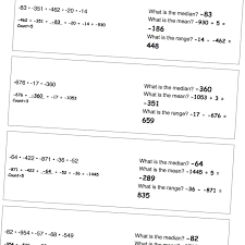 problem worksheets for finding the mean median and range for