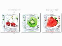 tableaux cuisine décoration murale frozen fruits pour cuisine tableaux