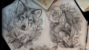 neo traditional wolf drawing clipartxtras