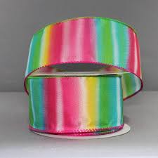 wire edged ribbon 2 5 rainbow stripe wire edge ribbon 10 yards package bows