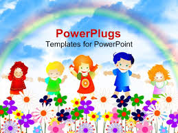 A Garden Of Flowers by Powerpoint Template Four Happy Kids Jumping In Garden Of Flowers