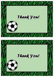 soccer thank you cards u2013 birthday printable