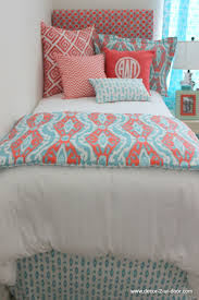 coral u0026 aqua ikat dorm bed scarf monogram pillows dorm and aqua