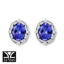 tanzanite earrings jared levian tanzanite earrings 1 5 ct tw diamonds 14k vanilla gold