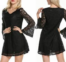 fashion women summer long sleeve lace evening party cocktail short
