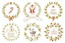 hand drawn christmas wreaths set illustrations creative market