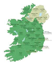 map of ireland with the meanings of the county names translated