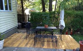 Patio Furniture Made From Wood Pallets by Backyard Pallet Deck Made From 10 Euro Pallets Outside