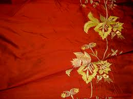 Discount Drapery Panels Designer Silk Drapery Home Decor Fabric Embroidery Borders Ruby