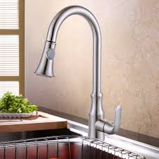 brass pull down kitchen faucet modern single large tall commercial