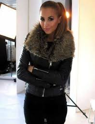 jofama by kenza jacket coat leather black fur cool beautiful girl smile