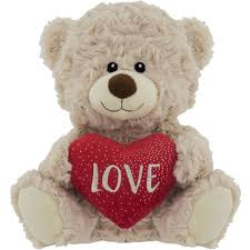 valentines day bears s day with heart plush 20cm assorted each woolworths