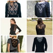 diy sweater sew lace back sweater refashion inserting lace into a sweater