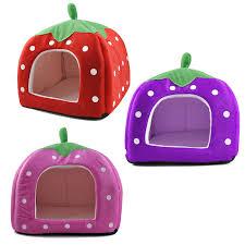 Dog Igloo Soft Strawberry Pattern Igloo Pet Dog Cat House Bed Cushion With
