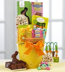 gourmet easter baskets yellow gift basket filled with gourmet easter candy