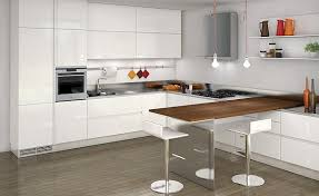 Luxurious White Kitchen Design With Dining Table And Big Shelves - Kitchen with breakfast table