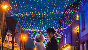 opening christmas lights in colorful street annual