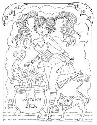 5 pages witches to color instant download halloween