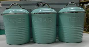 teal kitchen canisters enamel retro kitchen canisters white blue grey tea coffee