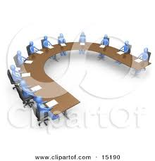 U Shaped Boardroom Table Group Of Blue People Seated And Holding A Meeting At A Large U