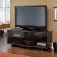 corner tv stand with glass doors furniture interesting sauder tv stand for home furniture ideas