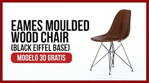 modelo 3d gratis eames molded wood side chair with black eiffel