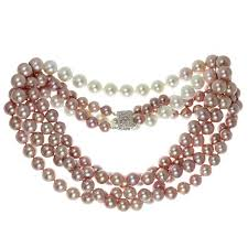 pink pearls necklace images Double opera diamond south sea freshwater pink pearl necklace for jpg