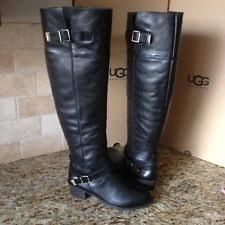 s ugg black leather ugg australia solid leather equestrian s boots ebay