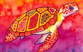 watercolor paintings turtles patterns abstract sea turtle colorful