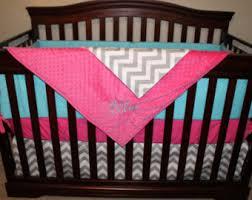 Aqua And Grey Crib Bedding Pink Aqua Bedding Etsy