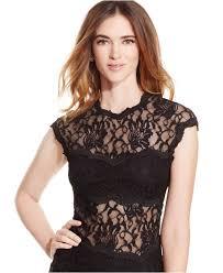 xscape cap sleeve lace dress xscape open back cap sleeve lace gown in black lyst