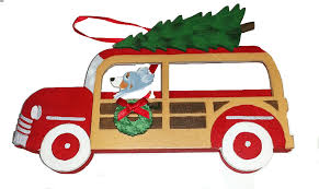 australian shepherd woodie wagon dog christmas ornaments u2013 for the