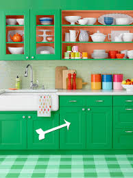Turquoise And Orange Kitchen by How To Paint Green Kitchen Cabinets Hgtv