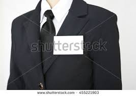 white blank name tag attached chest stock photo 455221903
