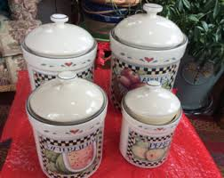 vintage ceramic kitchen canisters etsy