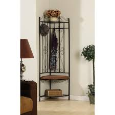 tall iron corner entryway bench with shelf and coat rack decofurnish